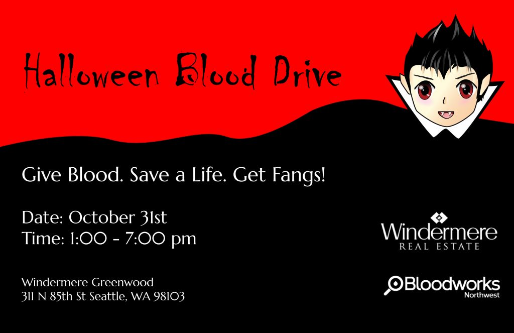 get in the spooky spirit by giving blood this halloween bloodworks nw will have a mobile truck in our office parking lot from 100 to 700 pm - Blood For Halloween